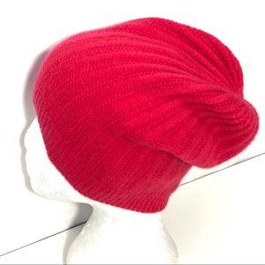 Halogen 100% Cashmere Slouchy Rib Knit Beanie